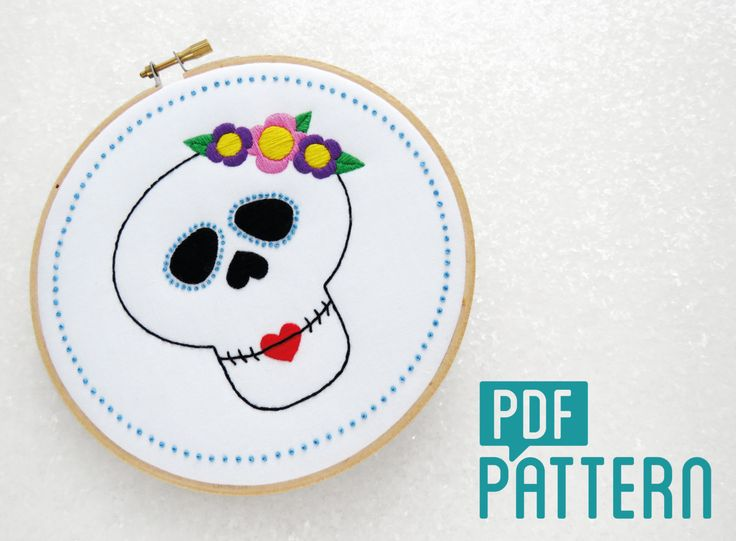 Sugar Skull Embroidery Pattern, Candy Skull Needlecraft Pattern, Halloween Needlework Pattern, PDF Pattern Download, Rockabilly Embroidery