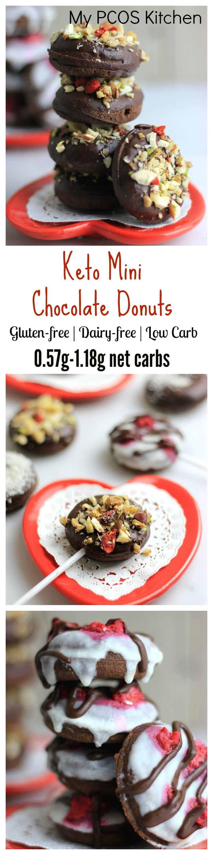 My PCOS Kitchen - Low Carb Mini Chocolate Donuts - Keto, gluten-free, sugar-free and dairy-free donuts perfect for Valentine's day!