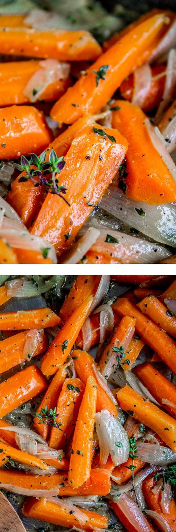 Famous recipe for the BEST CARROTS! Sautéing them with shallots and fresh thyme makes them next-level. Perfect for Easter!