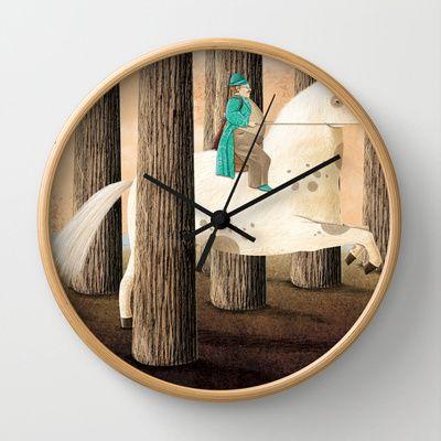 Il+cavallo+in+bianco+Wall+Clock+by+Francesca+Cosanti+-+$30.00