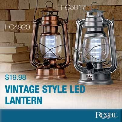 """VINTAGE LED LANTERN Stylish and highly functional, this battery-operated lantern is perfect for picnics, BBQs or on a patio table as a centre piece! The 12 bright LED bulbs make it a great emergency light if the power goes out. Has carry handle, hanging hook and on/off switch with dimmer. Requires 2-D batteries (not included). Metal. 8""""L x 6-1/2""""W"""