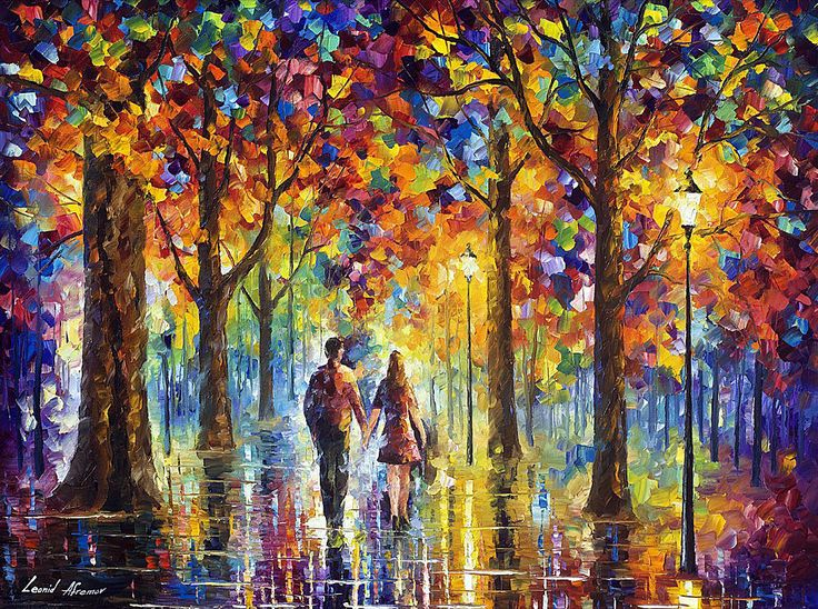 """Lovers —  Oil Painting On Canvas By Leonid Afremov. Size: 36""""x48"""" Romantic art #Impressionism"""