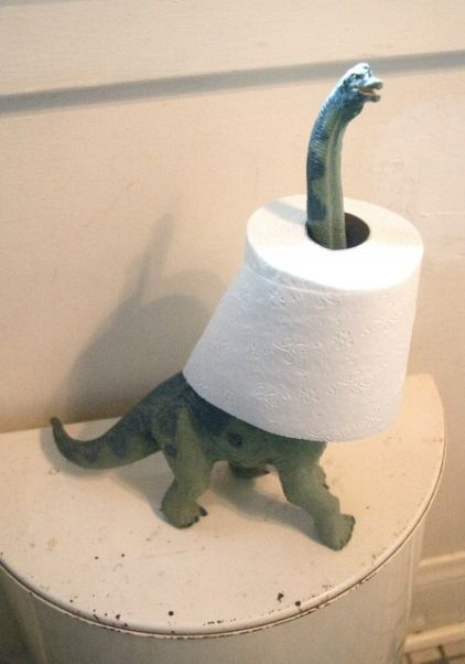 Dinosaur toilet paper holder; who knew the long neck would be great company in the bathroom! lol