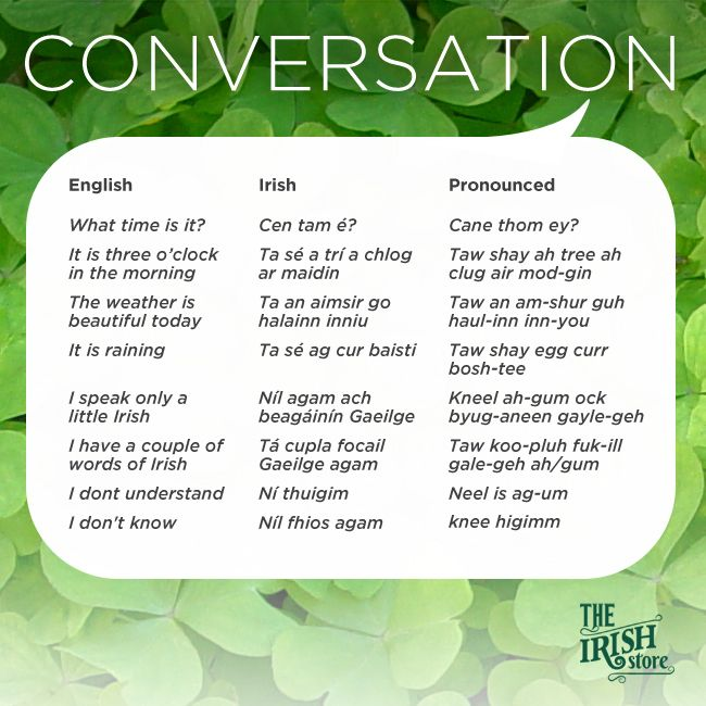 Did you know there is no Gaelic term for yes or no in the Irish language. Or did you know that there is no j, k, q, v, w, x, y or z in the Irish alphabet. Have your very own Irish lesson with the Irish Store. Learn all the basic Irish terms and phrases …