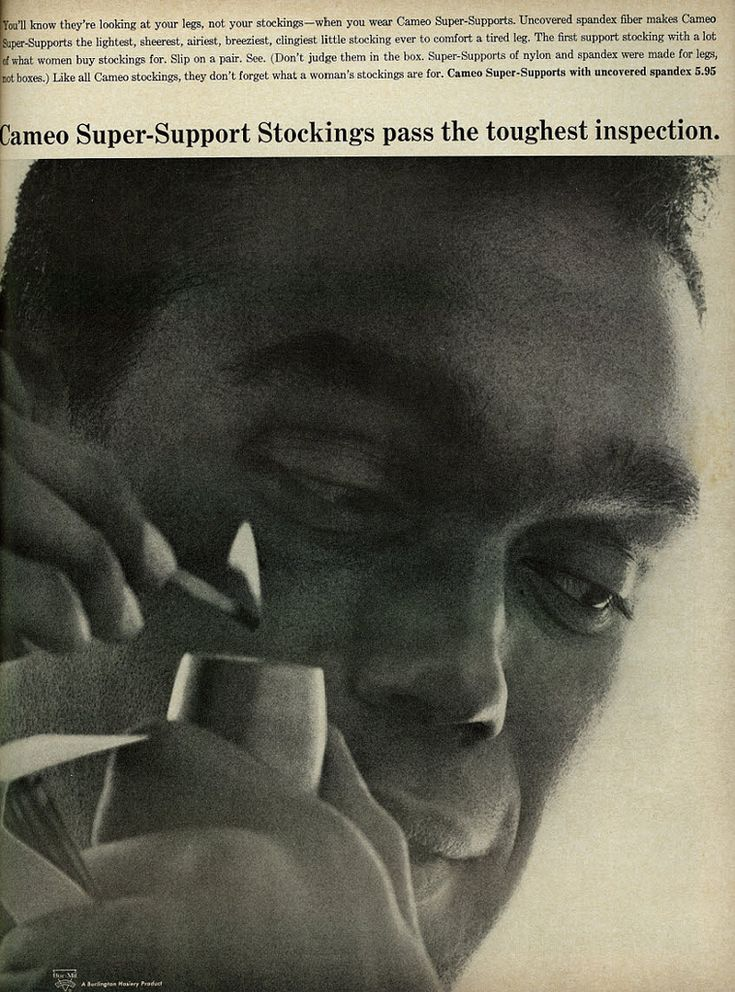 1963 Cameo Super-Support Stockings, Man Smoking Pipe While Eying Unseen Woman's Legs