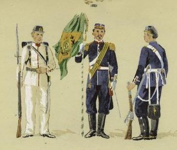 Uniformes da infantaria em 1889