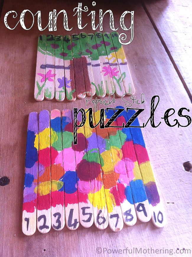 Popsicle stick puzzles: tape 10 popsicle sticks together, paint a design and then add the numbers 1 through 10. Once the tape is gone, the kids will have to line the numbers up in order to show the picture again.