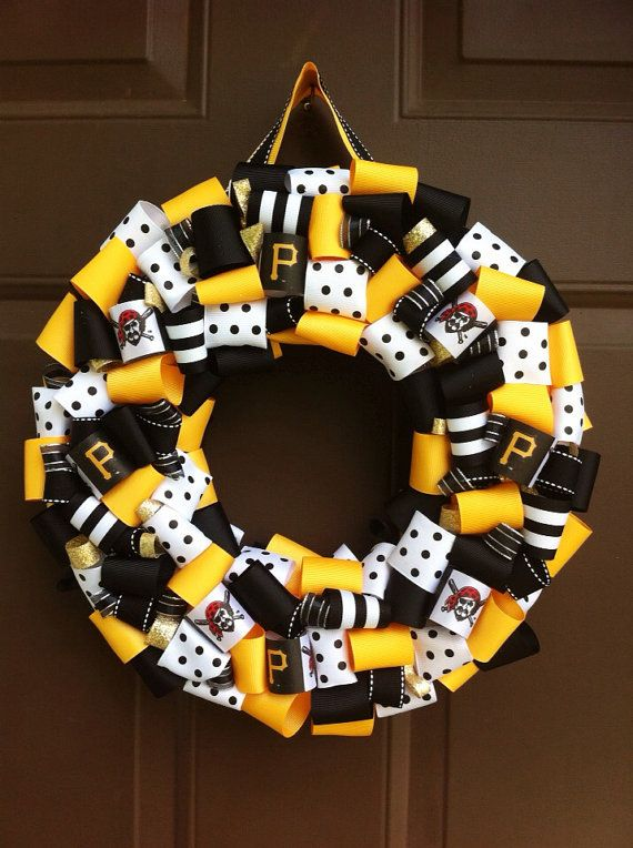Pittsburgh Pirates Wreath Ribbon Buccos for Front by WeHaveWreaths.  www.facebook.com/CraftCreationsbyJen
