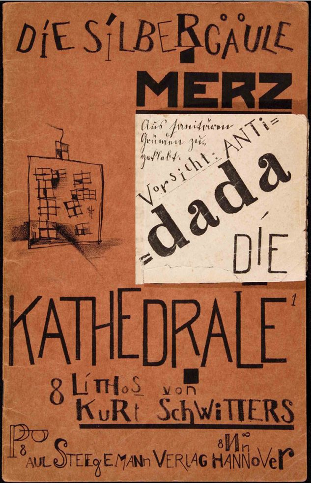 """Kurt Schwitters (1887-1948), 1920, Die Silbergäule 41-42, lithograph and collage. In 1919, he invented the term """"Merz"""" to describe his art. 'My ultimate aspiration is the union of art and non-art in the Merz total world view', he wrote in 1920."""