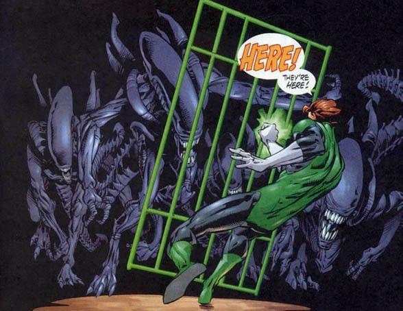 """Green Lantern vs Aliens"" (2000) Art by Rick Leonardi #DarkHorseComics #DCComics #Aliens #GreenLantern"