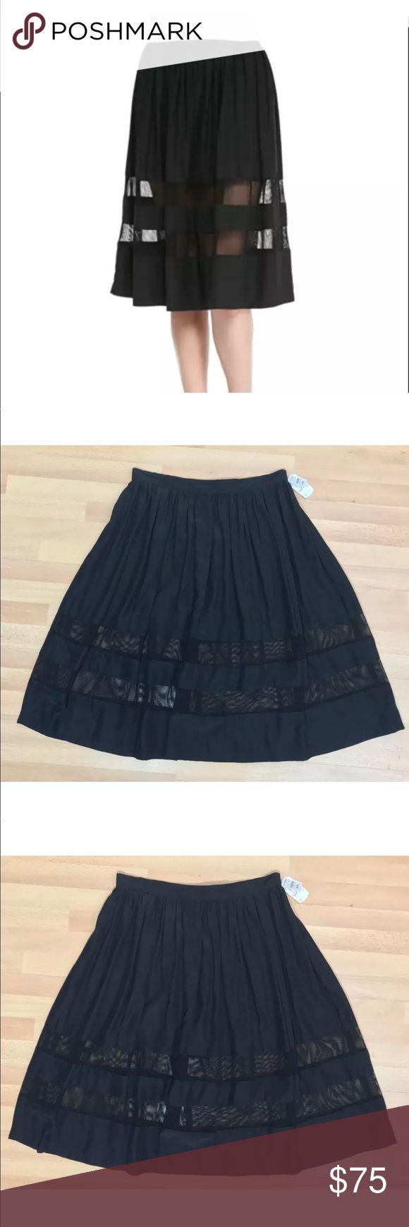 "Amanda Uprichard loves cusp skirt nwt Amanda Uprichard Loves Cusp. From Neiman Marcus Gathered Mesh Inset A-Line Skirt, Black Side zipper Size Medium 100% silk Mesh is spandex/nylon blend New with tags Top pleats subtly ruffle skirt. A-line silhouette. Mesh insets create a peekaboo effect.  Measurements (Flat/unstretched) Waist  29""  Length 25.5"" Amanda Uprichard Skirts A-Line or Full"