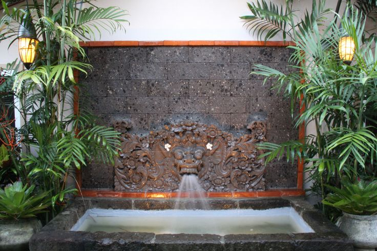 """""""Balinese Garden""""/ Fountain. I like this. Maybe just build the whole wall, get the engineer and the approval - and save like thousands - and get a fountain and a pool! :) This one by malichic@me.com /facebook.com/MaliChic"""