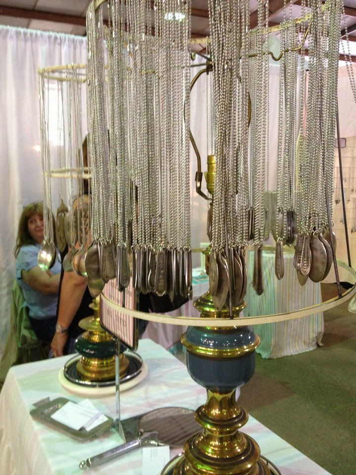 Remove a lamp shade from a lamp and hang necklaces from the frame.  More DIY jewelry storage ideas - http://thegardeningcook.com/jewelry-displays/