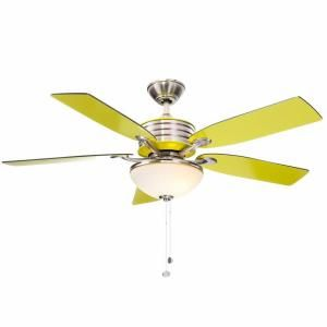 Hampton Bay Santa Cruz 52 in. Brushed Nickel Ceiling Fan with Green Accents AG712-BN+GN at The Home Depot - Mobile