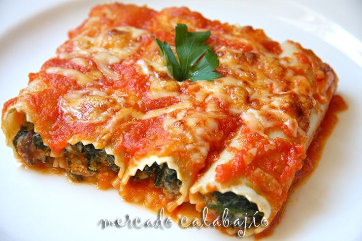 Canelones con requesón. (Receipe in Spanish Language) Paso a paso. Mercado calabajío.