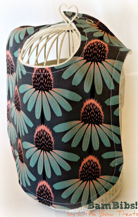 Bamboo Baby Infant Toddler Bib Echinacea Floral Teal Grey Gray Pink Organic Super Soft Absorbent BamBib Children Feeding, Dribble. Petal Geo