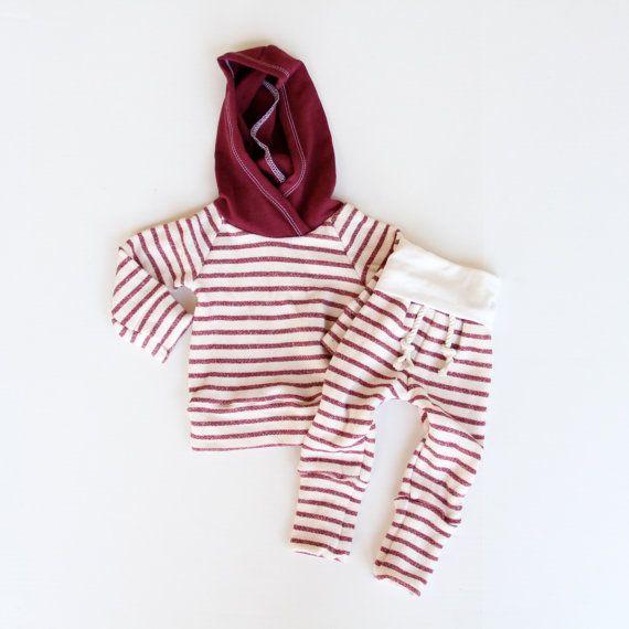 1218 mo hoodie/skinny sweats set  oatmeal/dark red by childHOODS, $70.00