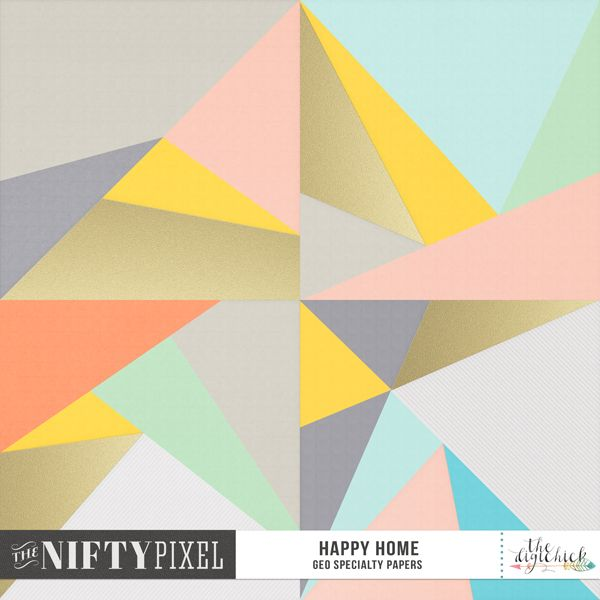 HAPPY HOME | Geo Paper Pack Do you want to make a big statement? Then check out these striking papers! Each one unique in design and coordinates perfectly with the Happy Home collection. With pastel tones, a touch of texture and a little gold bling thrown in for good measure these eye catching beauties pack a punch in all yoru digital projects.   NB: These papers were included in the Scrapstacks HAPPY HOME team collab, so check your stash before purchasing.  DOWNLOAD INCLUDES:  4X Geometirc…