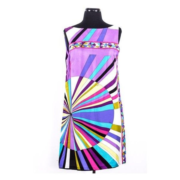 Pre-Owned Multi Color Silk Dress Size:10 (7 485 UAH) ❤ liked on Polyvore featuring dresses, purple, multi-color dress, multi color dress, multicolored dress, emilio pucci dress and white silk dress