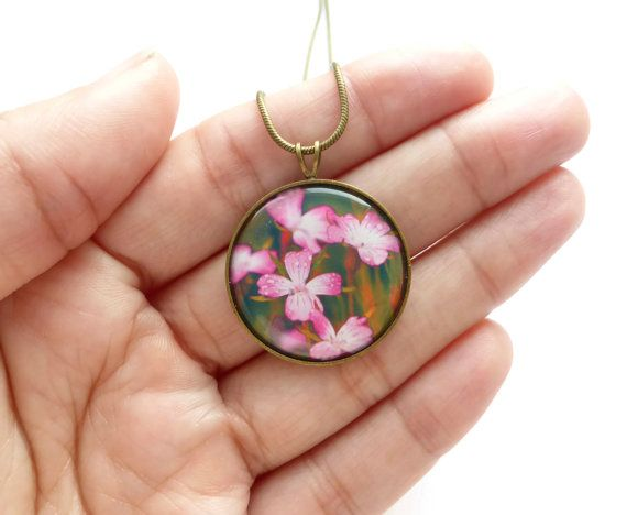 Pink Floral Necklace Flower Necklace Gift For Her
