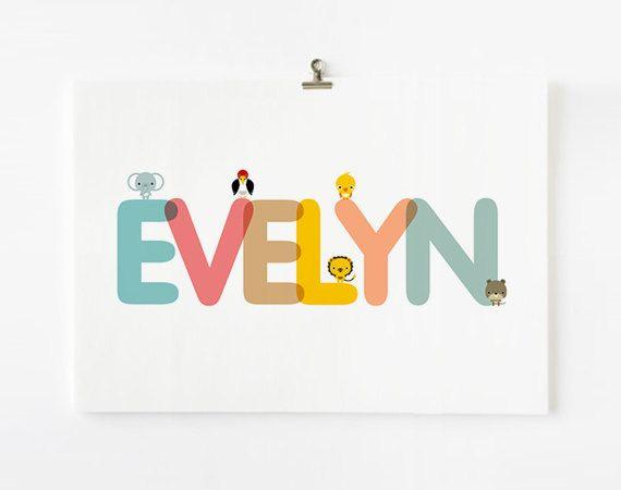Personalized Custom Childrens Alphabet Name art prints, Nursery baby wall art, Kid wall arts with animal 8 x10