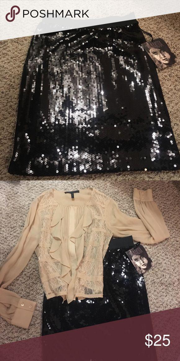 BB Dakota Black Sequin Skirt NWT Bodycon black sequin skirt. BB Dakota Skirts Pencil
