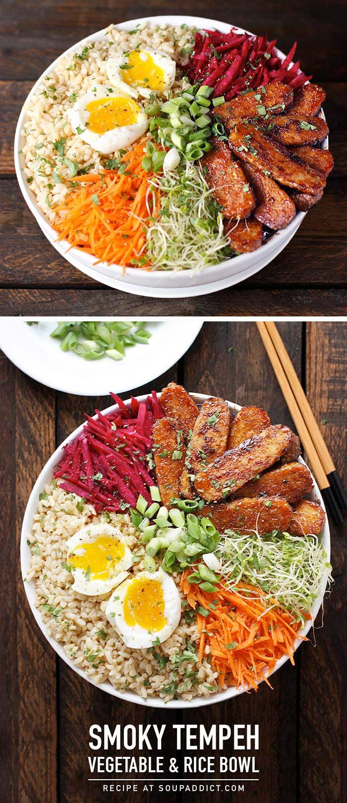 Smoky tempeh with fresh vegetables and sprouts over rice and topped with an egg makes for a healthy, and delicious meal. Recipe at SoupAddict.com