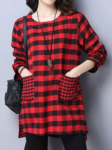 Women Vintage Plaid Long Sleeve Pocket Loose Blouses Cheap - NewChic Mobile.
