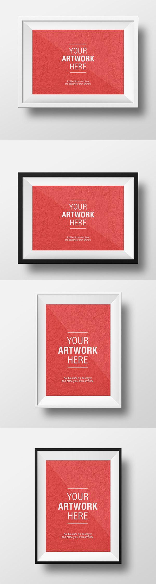 6 poster design photo mockups - Artwork Frame Psd Mockups