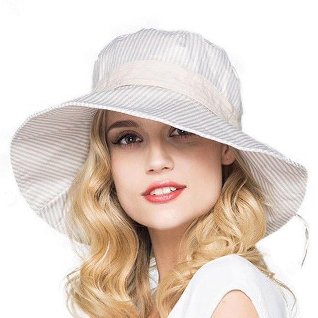 Summer Stripe Cotton Wide-Brim Floppy Summer Beach Hat 6 Colors