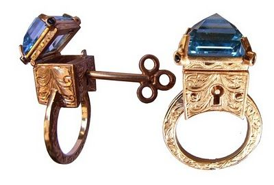 metal couture ring with key