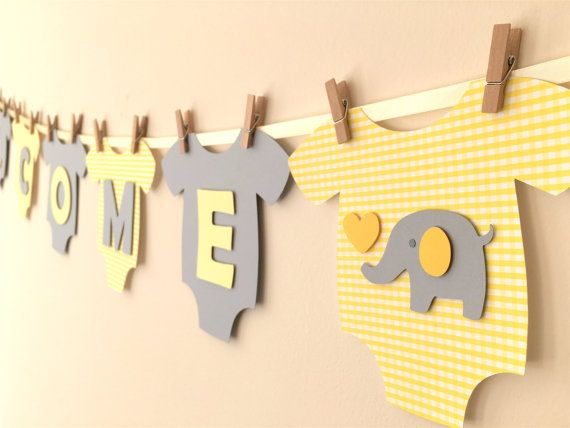 "Baby One-Piece Bodysuit ""WELCOME BABY"" Gender Neutral Baby Shower Banner: Yellow and Gray Elephant Baby Shower Decoration"