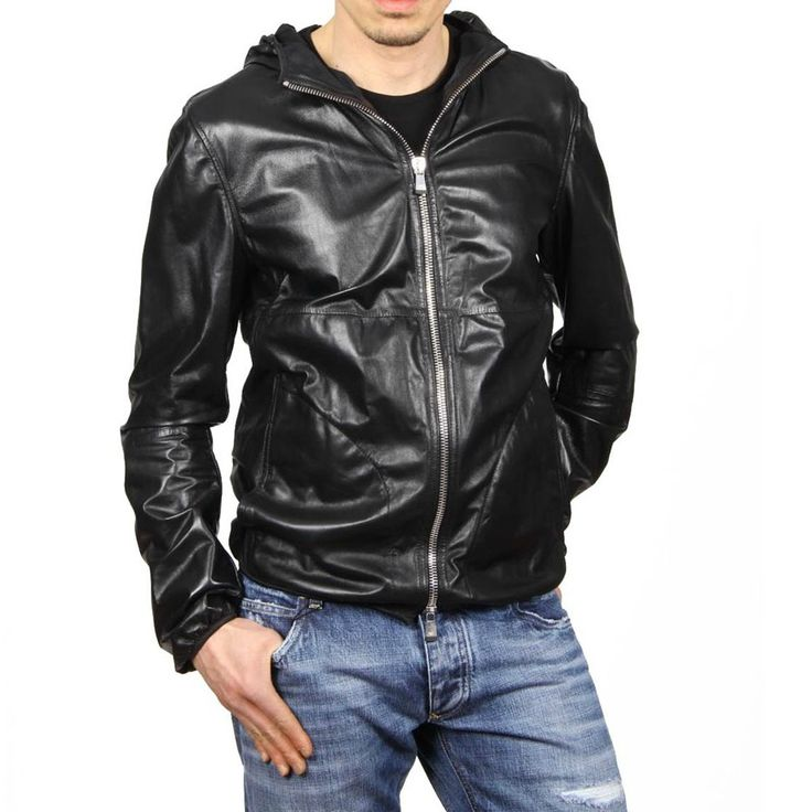 Emporio Armani Leather Hooded Jacket