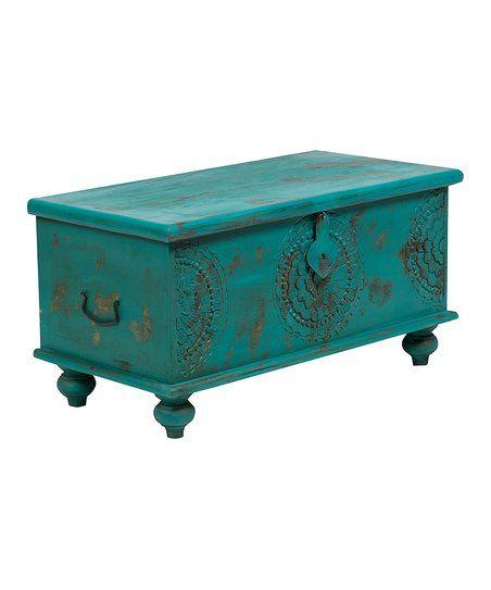 Porter Designs Teal Wanderloot Leela Handcarved Medallion Storage Trunk Table | zulily
