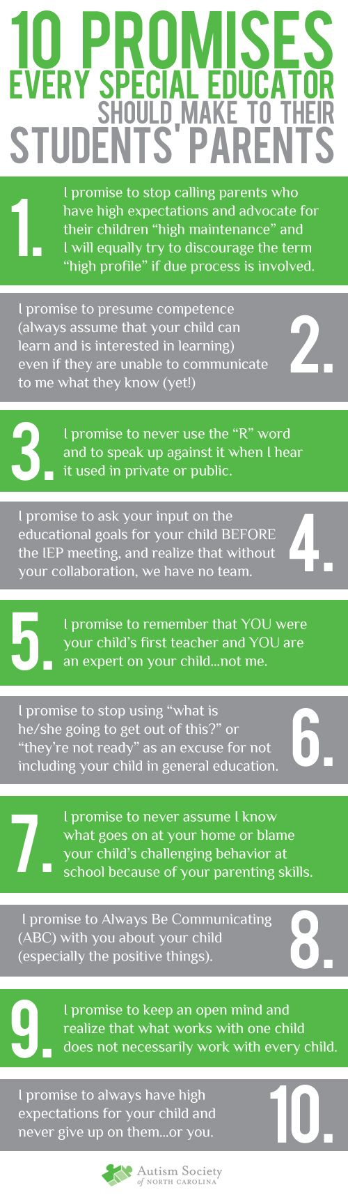 10 promises every special educator should make to student's parents.......so true!