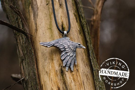 Odin Raven Viking Amulet Sterling Silver Pendant Scandinavian Norse Jewelry Necklace Viking Pendant Raven Pendant Viking Jewelry  Seller opened