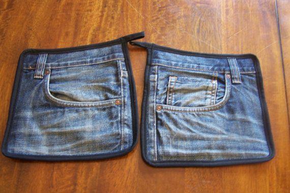 206  Jeans Topflappen  2 Stück von knitthouse1 auf Etsy