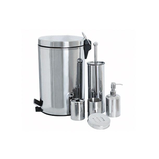 Accesorios para baño: 1 bote de basura con contenedor de basura interno removible. 1 cepillo para WC. 1  despachador de jabón. 1 vaso. 1 porta cepillo. 1 jabonera. Hechos de material de larga duración. Diseños prácticos y elegantes.