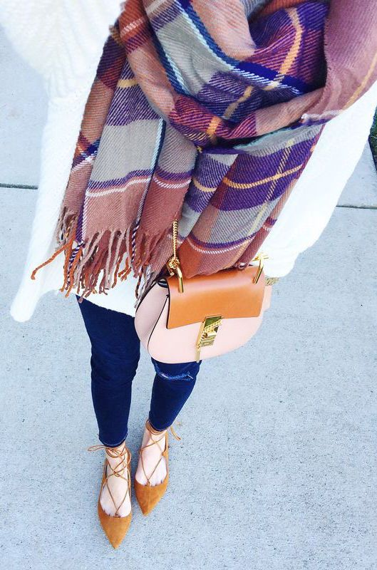 #winter #fashion / tartan + knit