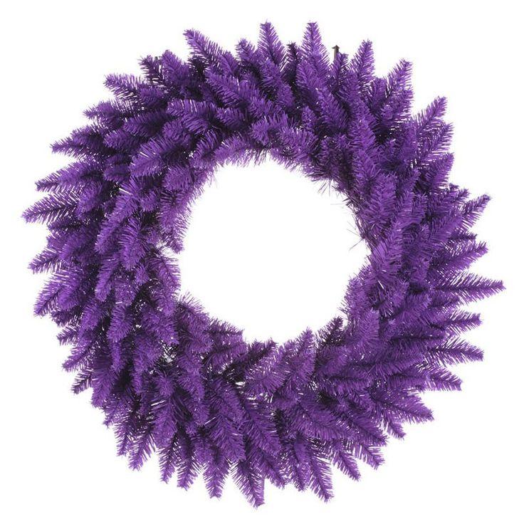 Vickerman Purple Pre-Lit Wreath - Purple Lights | from hayneedle.com
