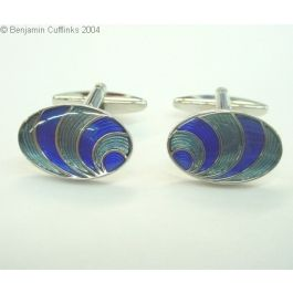 Ocean Waves Cufflinks - Enamel cufflinks on a rhodium plated base with a classical wave design.