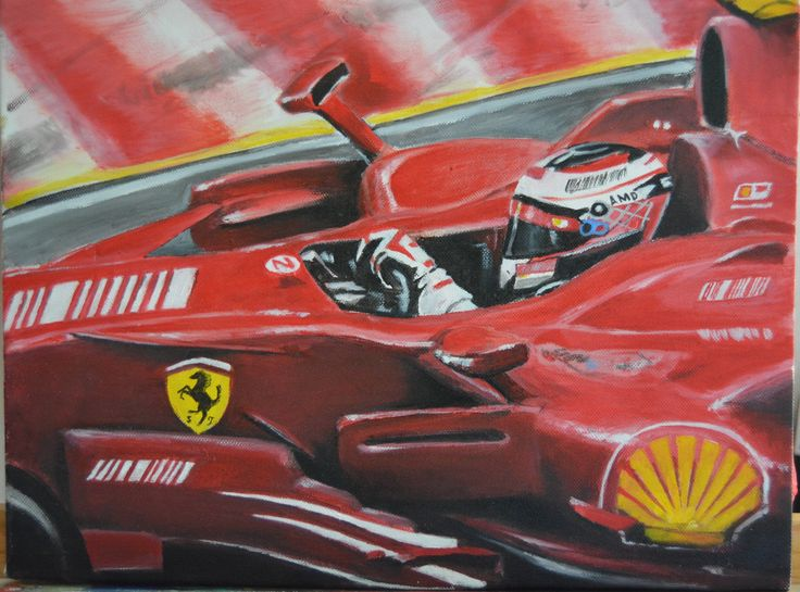 Kimi Raikkonnen -Formula One World Champion 2007, Ferrari Oil on canvas