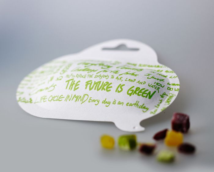 This is a new biodegradeable, recyclable packaging material by Billerud, a Swedish company. The material is very flexible, can easily be shaped into soft, natural shapes and can stand up to being embossed.