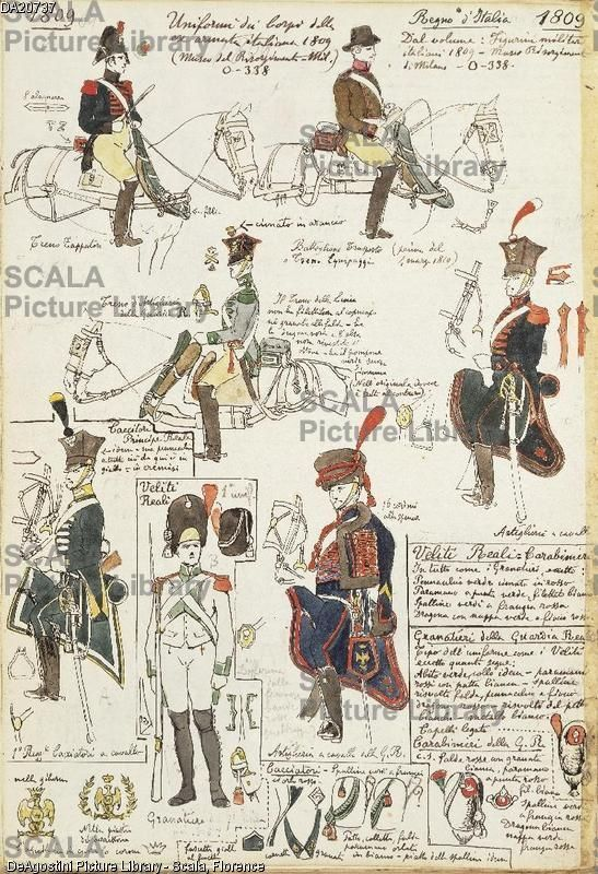 ******** Militaria, Italia XIX secolo. Uniformi dei Corpi dell'Armata italiana, 1809. Tavola dal Codice Cenni.