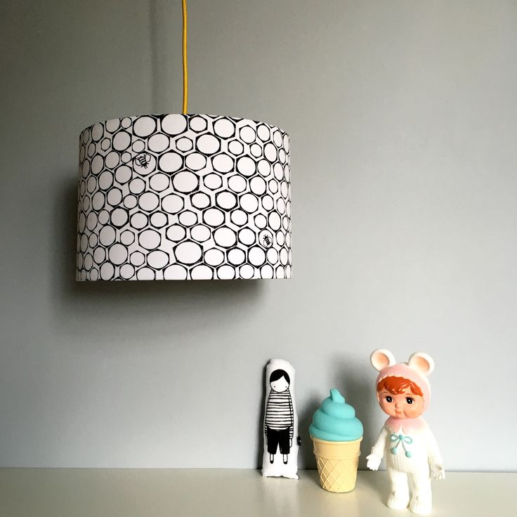 Nutty Bees Lampshade in Monochrome collaboration with The Bright Company