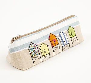 Embroidered Beach Hut Pencilcase