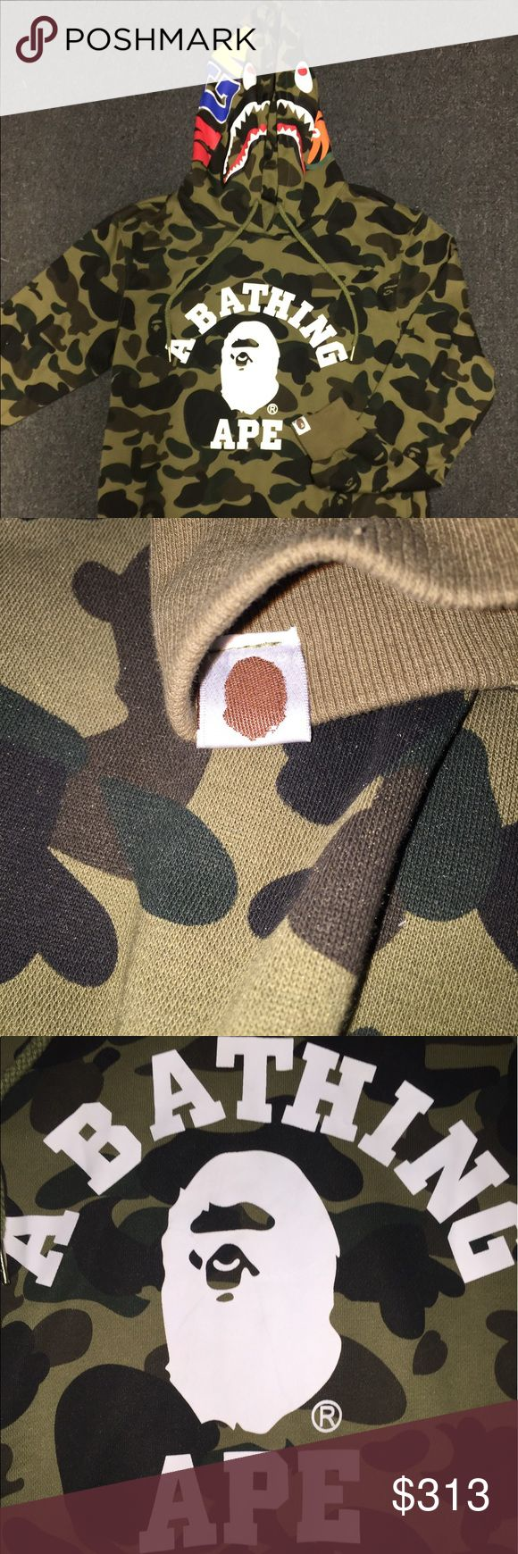 Bape OG 1st Camo Shark Pullover Hoodie Slight Cracking On Right Side Of Ape Head Die To The Way It Was Folded In Storage Other Than That It's In New Condition. Tagged XL But Fits Like A Large . Has Side Pockets Bape Sweaters
