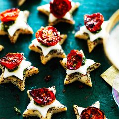 Parmesan shortbreads with mozzarella, cherry tomatoes and pesto - Sainsbury's Magazine.