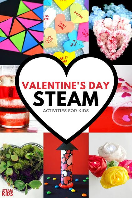 Awesome STEAM (science, technology, engineering, art and math) activities for kids this Valentine's Day. Great homeschool activities!