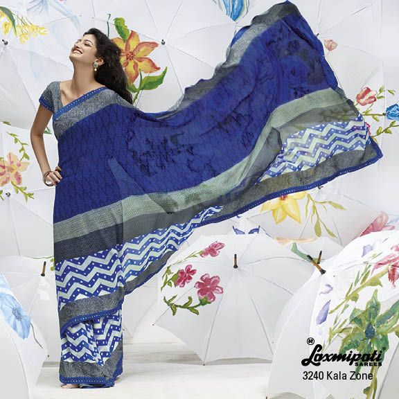 JUST Amazing Design!... abstract combinations of print are truly matching on this blue-gray saree.